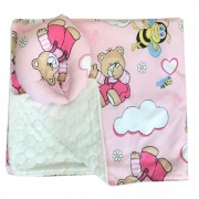 Reductor Bebe Bed Nest cu paturica si pernuta antiplagiocefalie Ursi cu albine pe roz