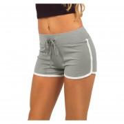 Moda Mujeres Pantalones Deportivos Contraste Unión Lateral De Split Elástico Cintura Shorts Yoga Gris