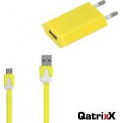 Mini USB Reislader Geel + platte Micro USB Datakabel 3 meter voor Huawei P9 Lite