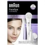 Aparat de tuns braun Set Cadou Epilator Facial Braun SE832N, 10 prinderi, Perie curatare faciala, 3 accesorii, Alb/Lila