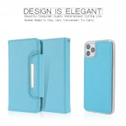 Litchi Texture Detachable Leather Wallet Cover Phone Case for iPhone 11 Pro Max 6.5 inch - Blue