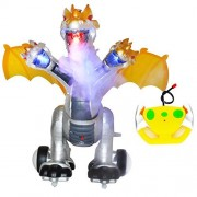 Prehistoric Beast Remote Control Three Heads Dragon Dinosaur Simulated Flame Walking Shaking Light Up Eyes