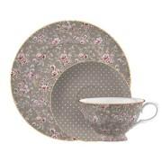 Teáscsésze aljal és desszerttányér Grey, Ditsy Floral