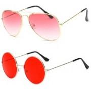 SRPM Aviator, Round Sunglasses(Pink, Red)