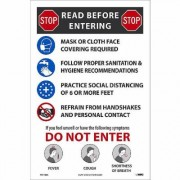 National Marker Pandemic Signage, Sign Message STOP. READ BEFORE ENTERING, Product Type Poster, Length 18, Model PST155C