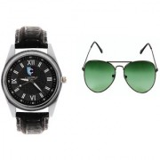 CALIBRO Men's Black watch Green Aviator Sunglass