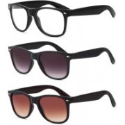 Dannilo Wayfarer Sunglasses(Clear, Violet, Brown)