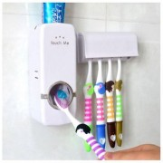 Nueva Automatic Toothpaste Dispenser 5 Toothbrush Holder Set Wall Mount Stand