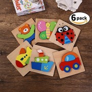 Wooden Puzzles for Toddlers Kids Girls Boys Babies - Educational Puzzle Toys Set of 6 Ship Plane Butterfly Bear Car Ladybug