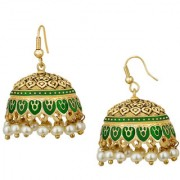 Spargz Festival Special Enamel Green Meenakari Worked Gold Plated Pearl Fish Hook Jhumki Earring For Women