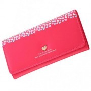 Piros-rózsaszín, kicsi színes szívecskés pénztárca
