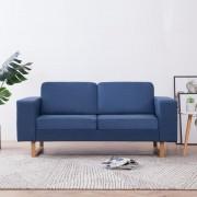vidaXL 2-местен диван, текстил, син