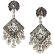 Rubans Oxidised Silver Toned Drop Earrings