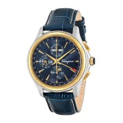【52%OFF】ラウンドウォッチ クロノグラフ デイ カーフレザー型押しベルト フェイス:ネイビー ベルト:ネイビー ファッション > 腕時計~~メンズ 腕時計
