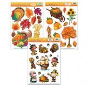 Fakkos Design Thanksgiving Window Cling Decorations - 3 Large Sheet Sets Featuring Fall Themes Turkeys, Pilgrims, Leaves, Pumpkins