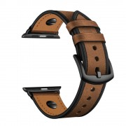 Rivet Decor Top Layer Genuine Leather Watch Strap Band for Apple Watch Series 1/2/3 38mm / Series 4/5 40mm - Crazy Horse Brown