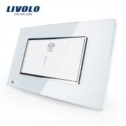 Priza Telefon Livolo cu rama din sticla - standard italian, alb