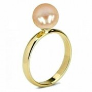 Inel din Aur cu Perla Naturala de Cultura Crem