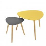 [en.casa]® Set de 2 mesas de centro - mostaza y gris - patas de madera maciza de haya - mesa auxiliar de madera