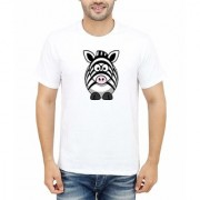 DOUBLE F ROUND NECK HALF SLEEVE WHITE COLOR UNIQUE ANIMAL PATTERN PRINTED T-SHIRTS