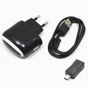 5V 1A cargador micro USB + mini adaptador USB - negro (100 ~ 240V / enchufe de la UE)