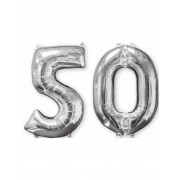 Vegaoo.se 50-år - 2 silverfärgade aluminium ballonger 66 cm