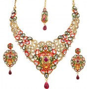 Kriaa by JewelMaze Zinc Alloy Gold Plated Multicolor Austrian Stone Kundan Necklace Set With Maang tikka-AAA0636