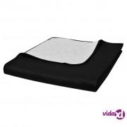 vidaXL Dvostrani Prošiveni Prekrivač Crno/Bijeli 230 x 260 cm