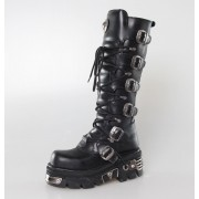 bőr csizma - 6-Buckle Boots (272-S1) Black - NEW ROCK - M.272-S1