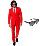 Rood heren kostuum / pak - maat 52 (XL) met gratis zonnebril