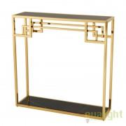 Consola design modern din metal auriu cu blat din sticla neagra Table Morris 109878 HZ