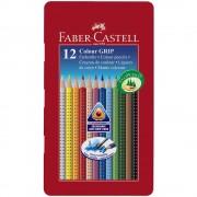 Creioane colorate 12 culori/set FABER-CASTELL Grip 2001 cutie metal, FC112413