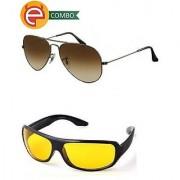 Ediotics Classic Brown Aviator Yellow Night Driving Sunglasses