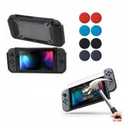 Nintendo Switch Funda Rubberize + Mica + Grips - Negro