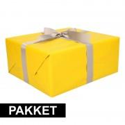 Shoppartners Geel inpakpapier pakket met zilver lint en plakband