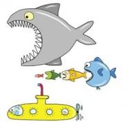 > ADESIVI MURALI REMOVIBILI - BIG FISH EAT Y SUBMARINE - SIZE XL 68x98 WALLSKIN (unit