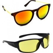 Hrinkar Round Sunglasses(Golden, Yellow)