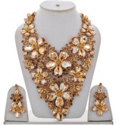 Lucky Jewellery Designer LCT Color Stone Rhine Stone Flower Shaped Gold Plated Long Necklace Set With Earring For Girls Women