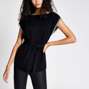 River Island Womens Black diamante sleeve belted top (14)