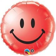Qualatex Rojo brillante cara sonriente 45,7cm Mylar Globo Party