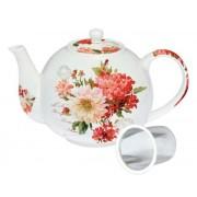 Tetera con filtro decorada flores rojas | productos para el te
