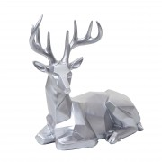 Deko Figur Hirsch HWC-D29, Reh Deko-Hirsch Tierfigur Skulptur Statue, liegend Indoor/Outdoor, Polyresin 33x30x15cm ~ Variantenangebot