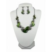 Souprava bižuterie náhrdelník a náušnice smalt zelený 2921-1 2921-1