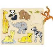 Дървен пъзел с дръжки Бебета животни в Африка Goki, 871094