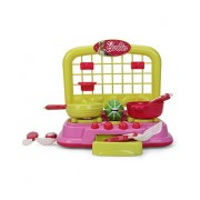 Mattel Barbie Kitchen set packed in Box carry case for Children of age 3 to 8 years | Premium Quality | Certified Safe as per European Safety Standards (EN71) | Fun and Educational toys for Kids | Multi Color | Includes 1 Gas-Stove, 2 Frying Pans, 1 Omlet