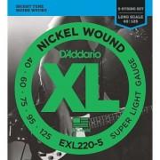 D'Addario EXL220-5 5-String Nickel Wound Bass Guitar Strings Super Light 40-125 Long Scale