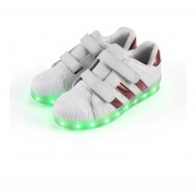 Kids Unisex LED Luminous Shoes Flashing USB Rechargeable Low-cut Shoes White & Pink