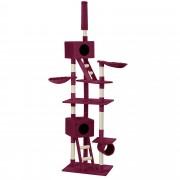 [en.casa] Rascador para gatos árbol para trepar sisal - 70 x 50 x (240-260cm) - granate - con zonas de descanso y juegos
