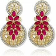 Asmitta Resplendent Round Stone Filigree Gold Plated Drop Earring For Women