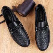 Zachte en comfortabele ronde kop PCowpea reliëf oppervlak lederen schoenen voor mannen (kleur: zwart maat: 46)